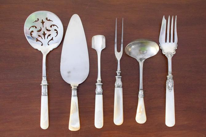 Set of 6 Mother of Pearl Handled Serving Utensils by CapitolVintageCharm
