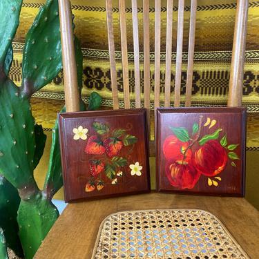Set of 2 Vintage 1970s Hand Painted Wood Fruit Plaques by DesertCactusVintage