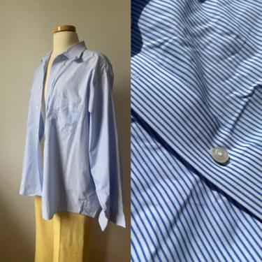 Blue and White Striped Menswear Button Down by DiscoLaundryVintage