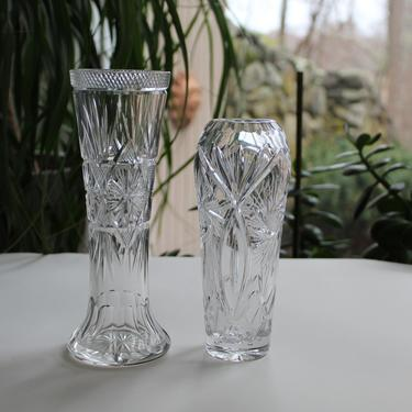 Group lot of 2 Edwardian / Victorian Antique Cut Crystal Vases, American Cut Glasses by FancyHaus