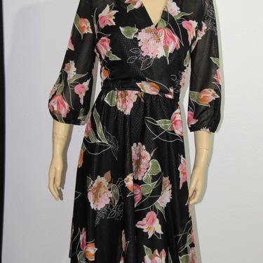 Vintage 70s  Lady Carol Sheer Disco Dress Florals and Diamonds Elastic Waistline by GraveyardVintage