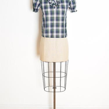 vintage 70s top navy plaid puff sleeve tuxedo ruffle blouse shirt thin soft XS clothing by huncamuncavintage