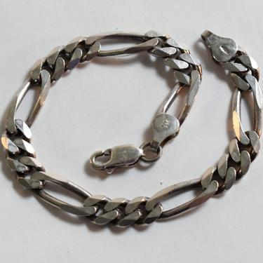 Classic 90's KI Italy sterling figaro rocker chain, edgy artisan made 925 silver stackable links bracelet by BetseysBeauties