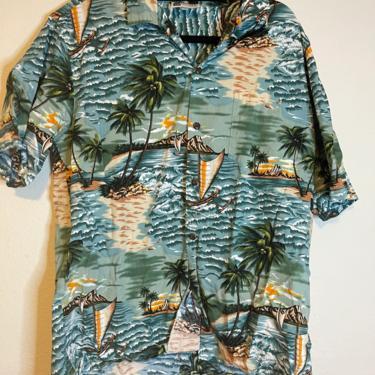 2) vintage aloha republic Hawaiian graphic short sleeve button down shirt by GRACEandCATS