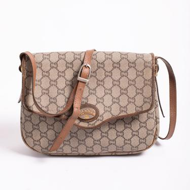 Vintage Authentic Gucci Plus 1980s Monogram Coated Canvas + Leather Crossbody Bag Logo GG Beige Brown Adjustable Strap by backroomclothing