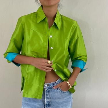 90s silk blouse / vintage lime green silk dupioni blouse with colorblock cuffs + collar / neon silk over shirt  | L by RecapVintageStudio