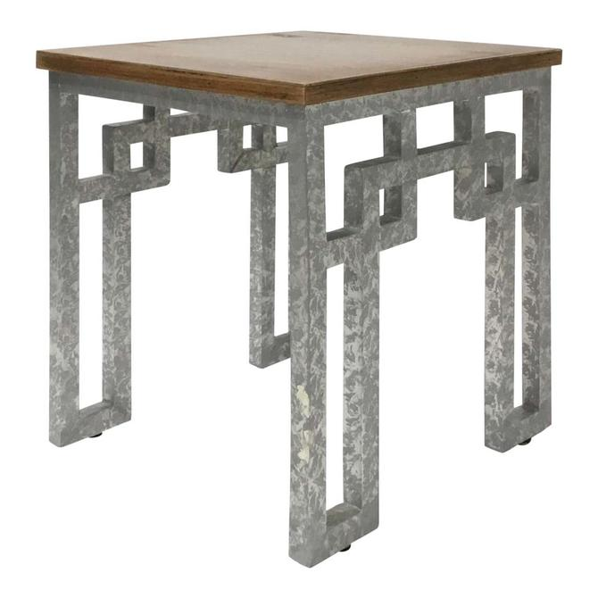 Modern Farmhouse Style Zinc and Wood Side Table