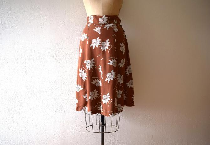1940s skirt . vintage 40s floral skirt by BlueFennel