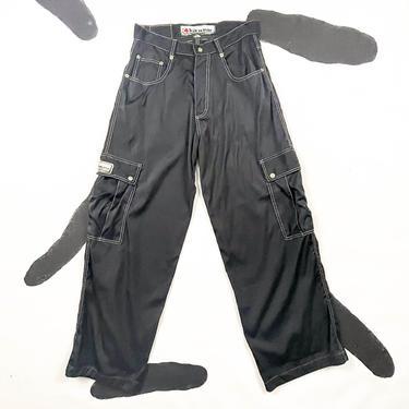 90s Kikwear Black Parachute Pants / Wide Leg / Utility / Long Pocket / Skater / JNCO / Kik Wear / Cyber / Rave / Club / 32 Waist / M / Goth by shoptrashdotnet