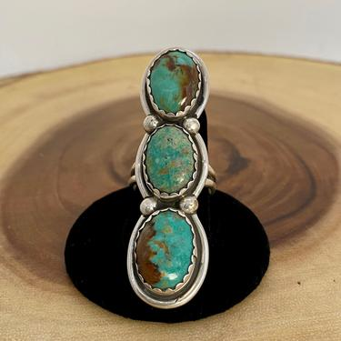 TRIPLE THREAT Vintage Silver & 3 Turquoise Stone Ring | Statement Ring | Native American, Navajo, Southwestern Jewelry | Size 10 by lovestreetsf