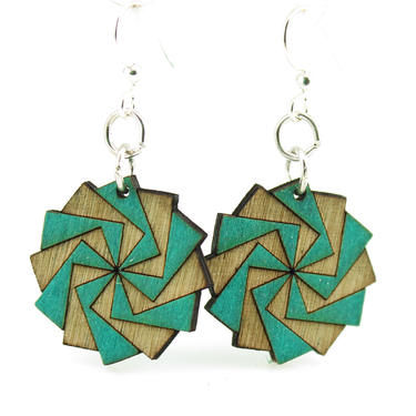 Twilight Blossoms - Wood Earrings - 153A by GreenTreeJewelry