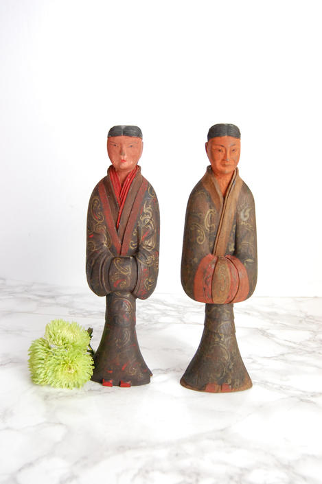 Antique Asian Wood Statues - Carved Wood Man and Woman Figures by PursuingVintage1