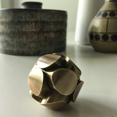 Brass puzzle by charles perry sculpture signed 1960s by CaribeCasualShop