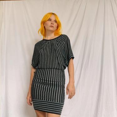 Y2K Metallic Striped Knit Dress by TheMetalRomanticShop