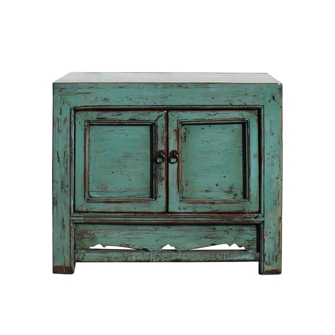 Oriental Distressed Aqua Green Lacquer Side End Table Nightstand cs5346S