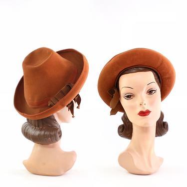1930s Orange Witchy Fedora Hat - 1930s Orange Hat - Vintage Orange Hat - 1930s Witch Tilt Hat - 1930s Womens Hat - 1930s Fall Hat  - 30s Hat by VeraciousVintageCo
