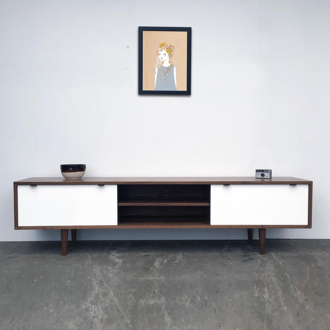 """Rochdale Credenza / Media Stand 75"""" - Solid Walnut - White Lacquer Fronts - Custom for Cesar by STORnewyork"""