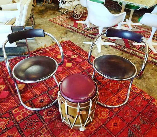 Pair of machine age chairs. Chrome and upholstered. $150 Drum ottoman. $50