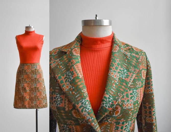 1970s 2pc Orange Ladies Suit Set by milkandice