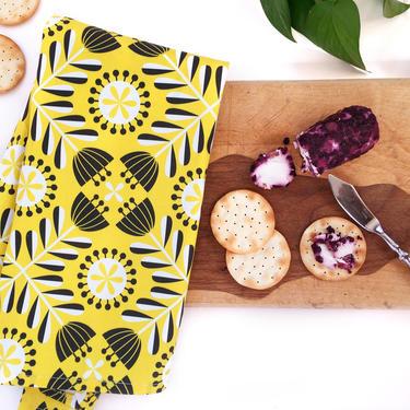 Folk Flower tea towel in yellow • Scandinavian-inspired design by TheAhlgrenCollage