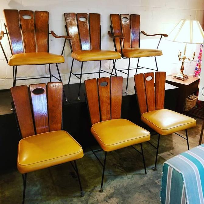 Set of 6 Mid Century slat wood upholstered dining chairs $350