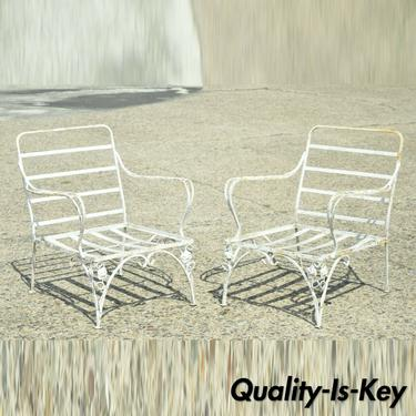 Vintage Woodard Chantilly Rose Wrought Iron Garden Patio Lounge Chair - a Pair