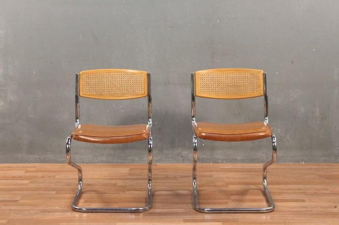 Daystrom Mid Century Cane & Vinyl Z-Cantilever Chair