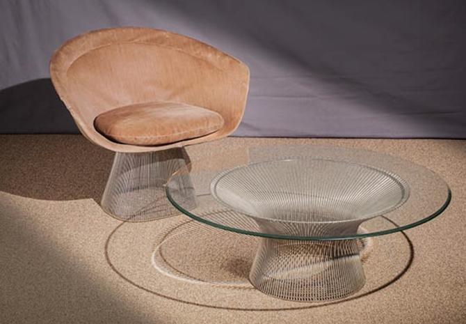 """Platner Nickel Plated Chair and 42"""" D Coffee Table"""