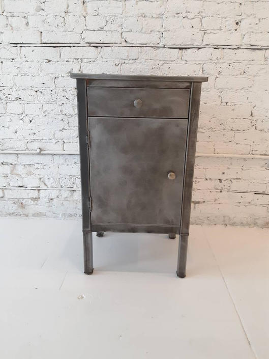 Vintage industrial stripped steel mid century Simmons medical cabinet by StateStreetSalvage