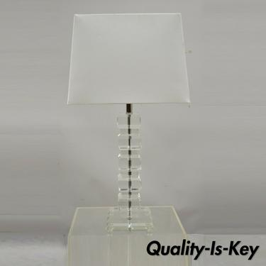 Mid Century Modern Stacked Lucite Acrylic Ice Cube Column Table Lamp with Shade