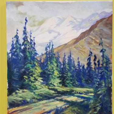 California Forest Landscape Painting 1930's by JanakosAndCompany