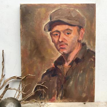"Vintage Male Oil Portrait, Man With Hat, Original Unsigned Art On Canvas Board, Work Man Portrait, Man Cave, Portrait Gallery, 12""x16"" by luckduck"