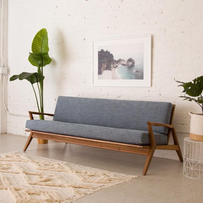 Blue Mid Century Sofa in Walnut