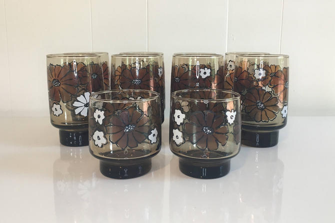 Vintage Libbey Floral Brown Juice Glasses Tumbler Cocktail Glassware Camelia Flowers White Brown Black Daisies 1970s Barware Retro Bar by CheckEngineVintage