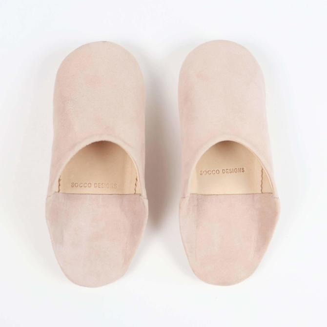SOCCO Designs - Suede Slippers, Blush - Women Moroccan Babouche Slippers