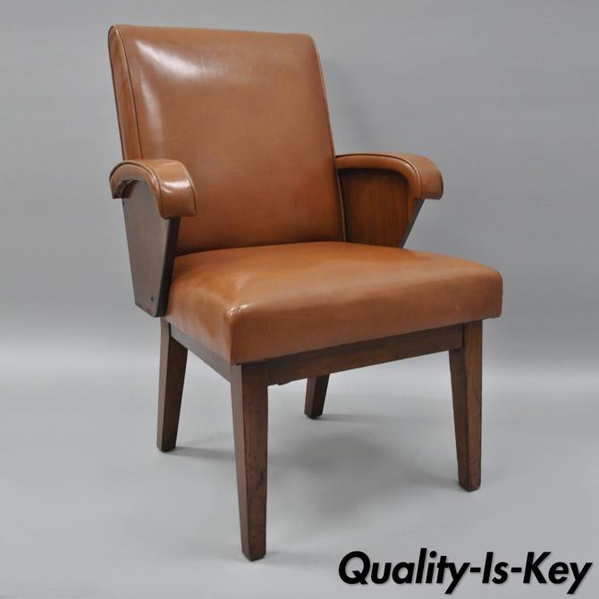 vintage walnut brown vinyl office desk chair armchair sculptural wd