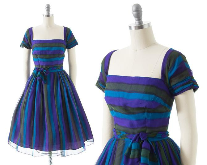Vintage 1960s Party Dress | 60s Striped Silk Chiffon Purple Blue Full Skirt Fit and Flare Formal Gown (small) by BirthdayLifeVintage