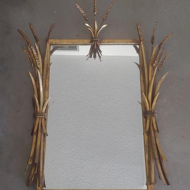 Vintage Hollywood Regency Gold Mirror w Wheat Sheaf Accents by ModandOzzie