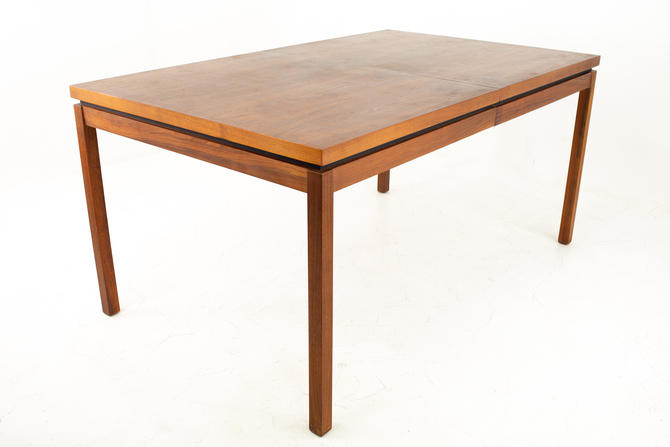 Milo Baughman Style Dillingham Mid Century Walnut Expanding Rectangular Dining Table with Two Leaves - mcm by ModernHill