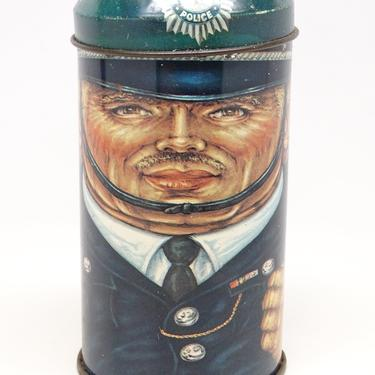 Vintage Cap Tins Policeman Metropolitan Police Tin, Daher Tin, English Candy Container by exploremag
