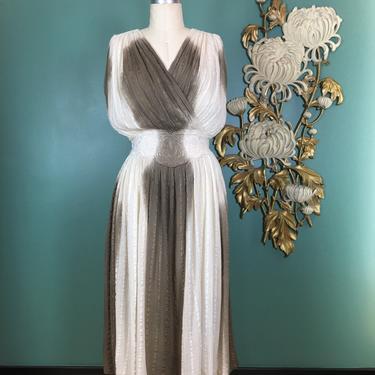 Vintage dress, Grecian, ombré, 1980s gauze dress, size medium, summer dress, cream and brown, draped, summer dress, 36 bust, bohemian, boho by BlackLabelVintageWA