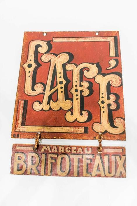 Antique French Cafe Sign | 2-Sided Hanging | Bar Café Man Cave Kitchen Décor