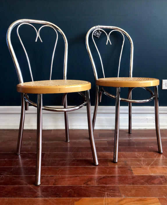 Darling Chrome and Cane Cafe Chairs- Pair by StrangelovelyVintage