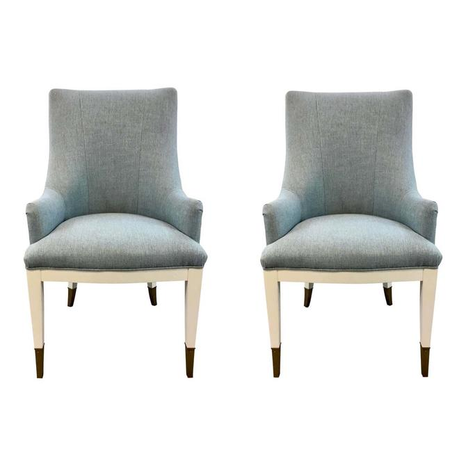 Caracole Couture Modern Robbins Egg Blue and White a La Carte Chairs Pair