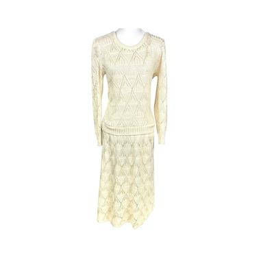 Vintage Bohemian Dress Tour Time Knitted Lace Dress 60's,70's Beige Knitted Long Sleeve Dress Ankle Length Fits like a Small Acrylic & Nylon by DakodaCo