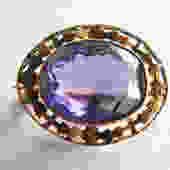 Victorian 10K Yellow Gold Brooch with Amethyst or Amethyst Crystal by LegendaryBeast