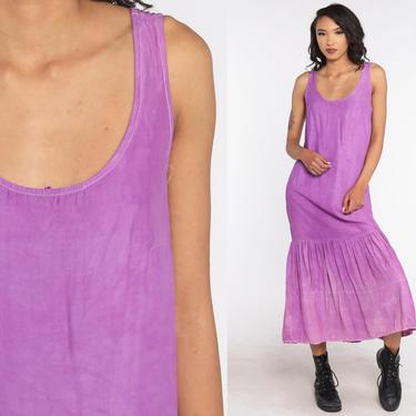 Purple Sundress Plain Dress 80s Summer Dress Jumper Normcore Boho Sun Midi Drop Waist Simple Cotton Jersey 1980s Boho Sleeveless Medium by ShopExile
