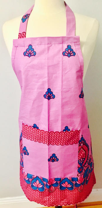 Powder pink Ankara Apron, African print, 100% Cotton by PriscArts