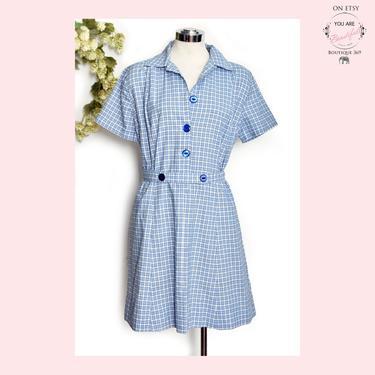 Vintage Day Dress, Cotton, Blue & White, 1960's Medium/Large size House Dress, Shirt Dress, Mid Century by Boutique369