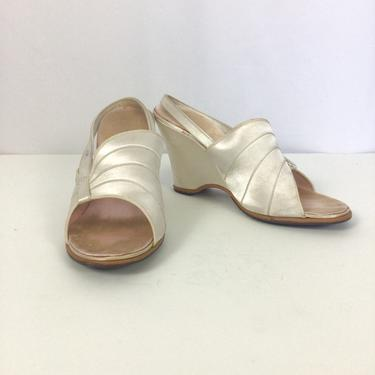 Vintage 40s Slippers | Vintage ivory silk satin wedge heel shoes | 1940s Comfy sling back boudoir shoes by BeeandMason